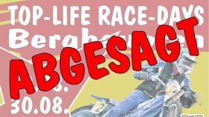 Die Top Life Race Days 2020 müssen aufgrund der Corona Pandemie abgesagt werden